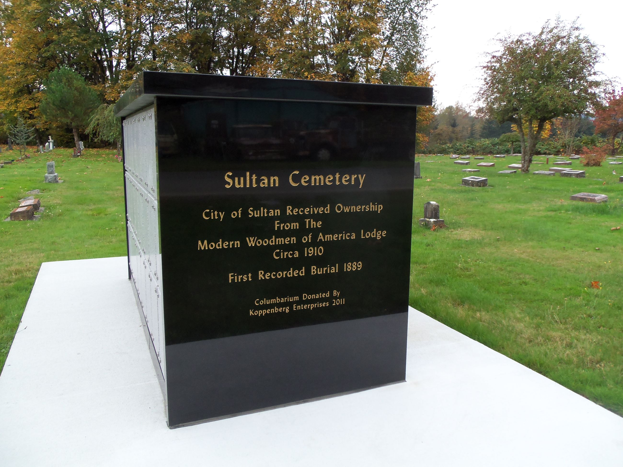 Sultan Cemetery Sign