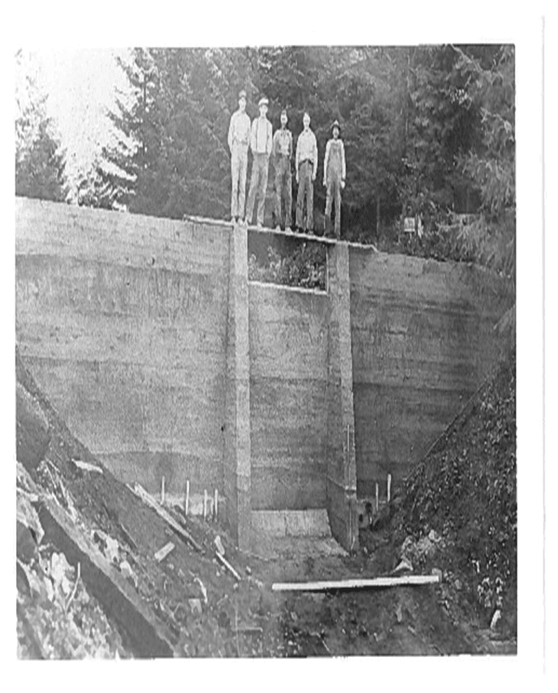 Black and White Photo of Reservoir Wall