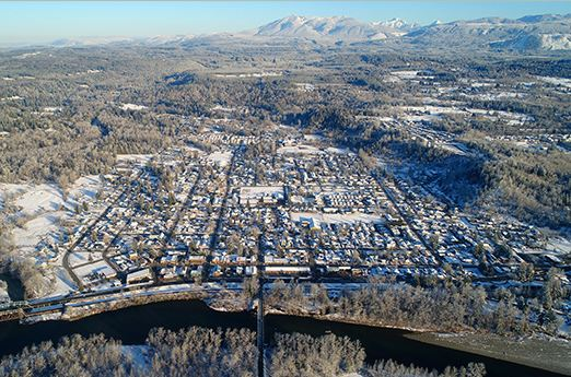 Aerial view of the city at winter